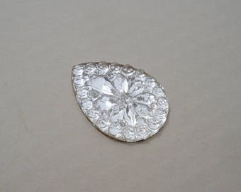 25x18mm Vintage Clear Fancy Cut Pear Teardrop Gold Foiled Flat Back Pressed Glass Cabs 3pcs