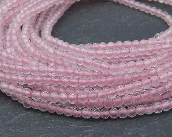 "AAA Rose Quartz Faceted Rondelles 2mm ~ 13"" Strand (CG8524)"
