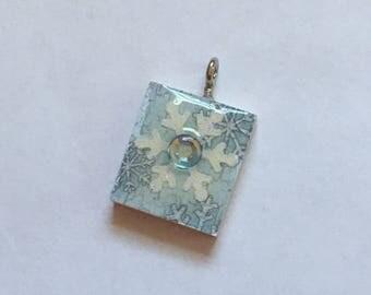 Scrabble Tile Pendant Necklace Winter Snowflake Party  Favors Teacher Gift Birthday Gift Hostess Gift
