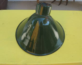 Vintage Porcelain Green Enamel Industrial Outdoor Garage Barn Angled Light Shade