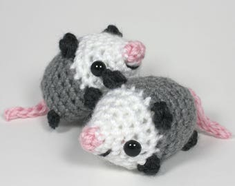 Crocheted Opossum Amigurumi Plushie - Mini Possum Plush - READY TO SHIP