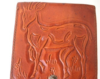 Leather Antelope Wallet Billfold Rhinoceros Snap Closed