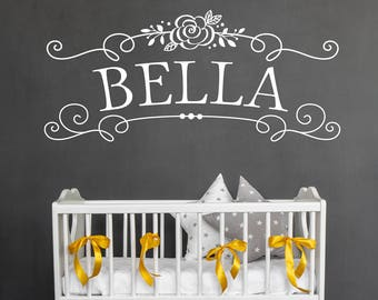Girl's Name - Nursery Wall Decal - Custom Wall Decal - Personalized Decor - Girls Room Wall Sticker Lettering