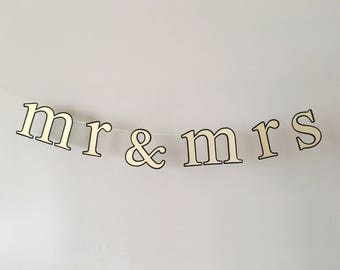 Mr & Mrs or Dr Banner - Wedding Photo Prop, Backdrop, Cake, Sweetheart Table, Chair Sign - Gold on Black with Gold Glitter Twine
