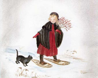 Tasha Tudor Vintage Print, 1970's Christmas Season Bookplate Illustration, Print, Springs of Joy, Young Girl on Snowshoes w/her Cat,  Verse