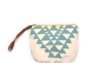 wristlet clutch • geometric print clutch purse • aqua blue - geometric triangle print - waxed canvas - summer fashion - boho