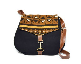 satchel • black and brown crossbody bag • african mudcloth - black canvas - cross body - neutral - global textiles - geometric