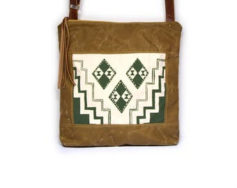 crossbody bucket bag • waxed canvas crossbody bag • olive green geometric print - brown waxed canvas - travel bag - crossbody tote