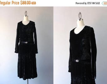 STOREWIDE SALE 1920s Dress / Antique 1920s Black Velvet Dress / Vintage 20s Dress