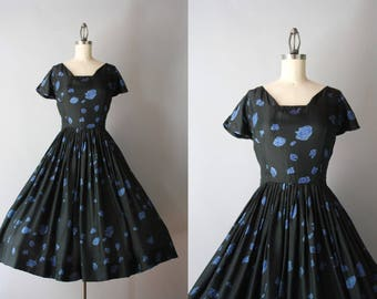 1950s Dress / Vintage 50s Black Silk Floral Dress / 50s Blue Rose Print Dress S small 27 waist