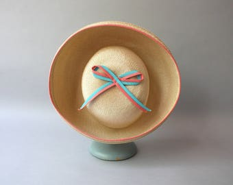 1950s Hat / Vintage 50s straw Hat / 1950s Pink and Blue Bow Madeline Hat