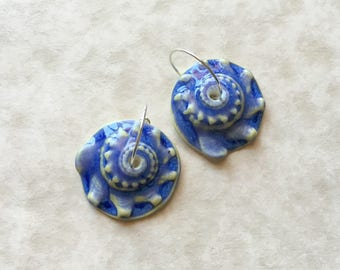 Blue Sunrise Shell Porcelain Earrings-Handcrafted Porcelain-Knobbed Whelk-Ceramic Shell-Artisan Earrings-Spiral-Blue Earrings-Beach Jewelry