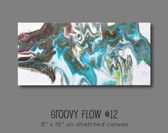 Groovy Abstract Acrylic Flow Painting #12 Ready to Hang 8x16