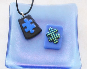 Puzzle Piece pendant - Autism Awareness - dichroic jewelry - Autism necklace - (1545-3036)