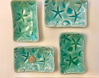 Nautical Textured starfish HM Ceramic Pottery Plate ocean decor aqua teal crackle hm pottery day at the beach dreams tide pool tray