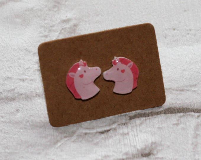 Pink Unicorn Earrings, Teeny Tiny Earrings, Horse Jewelry, Cute Earrings