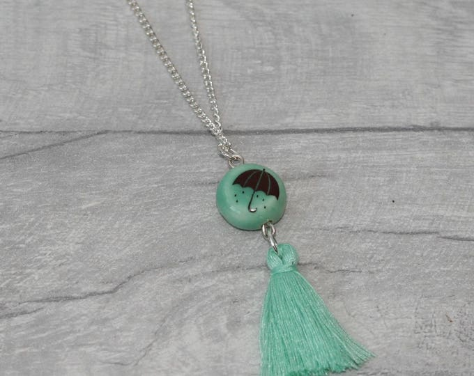 Umbrella Necklace with Tassel, Nature Jewellery, Weather Necklace
