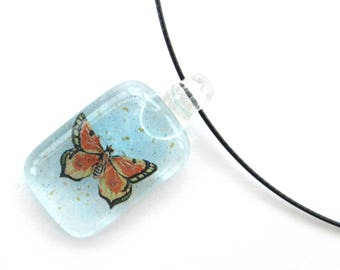 Butterfly glass necklace, handmade blue glass pendant, colored pendant, patterned glass jewelry, birthday gifts for her, Jewellery sale,