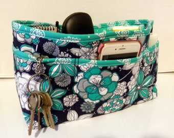 Quilted Purse Organizer Insert With Enclosed Bottom Large - Navy and Teal Floral