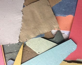 Scrap pack of handmade paper, recycled paper, collage paper, collage pack, eco friendly paper, natural paper, textured paper, decorative