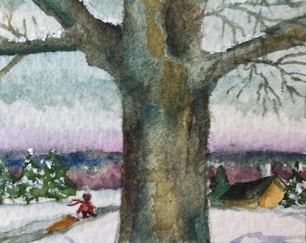Watercolor Painting of Tree in Snow Original Painting Art Card Artist Trading Card Original Watercolor Small Format Art