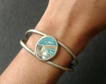 Vintage cuff bracelet alpaca metal inlay scene mountain nature birds rainbow turquoise chip abalone inlay Mexico