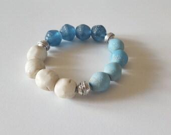 Beaded bracelet,blue bracelet,lampwork beads, mykonos,glass bracelet,chunky bracelet,made in canada,gift for her,gift under 40,one of a kind