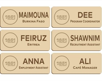 Name badge order for 1951 Coffee