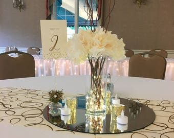 5 Silk Hydrangea Centerpiece led lights curly willow branches