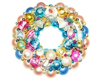 Ornament Wreath, Vintage Ornament Wreath, Aqua Ornament Wreath, Ball Wreath, Christmas Wreath, blue ornament wreath