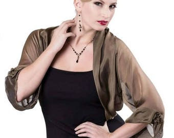 Promo Sale: Bronze Black Silk Chiffon Formal Bolero Jacket FIRST LADY/ Sizes XS - 4X