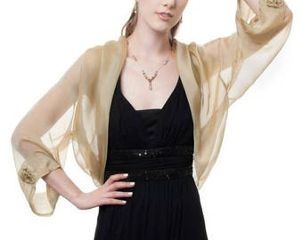 Promo Sale: Silk Formal Bolero Jacket FIRST LADY/ Antique Gold Color/ Sizes XS - 4X