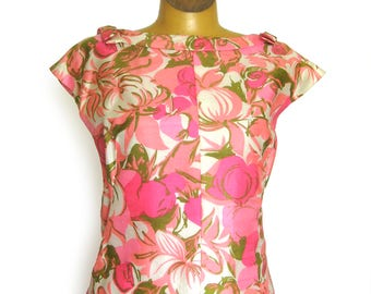 Vintage Weber and Franks Originals Sheath Dress / Silk Dress in Pink Floral Print / Summer Dress / Cap Sleeve Dress