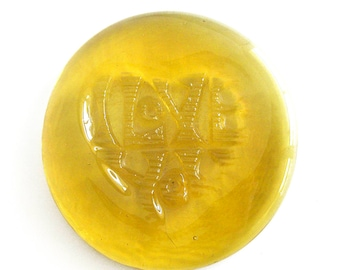 Yellow Glass Paperweight Art Glass I Love You Message Seventies Vintage Glass Rondell / Colored Glass Disc