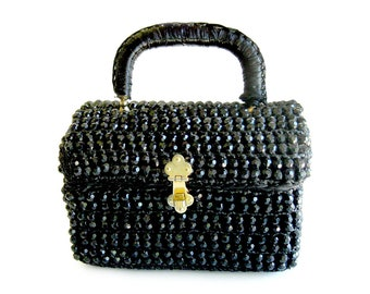 1950s Beaded Raffia Box Bag Purse / Black Beaded Handbag / Evening Bag / Rockabilly Style Evening Bag / Made in Italy / Viva Las Vegas VLV