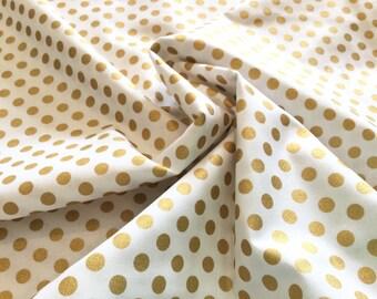 Spot On Metallic Medium Dot Blanc ~  Robert Kaufman Fabrics