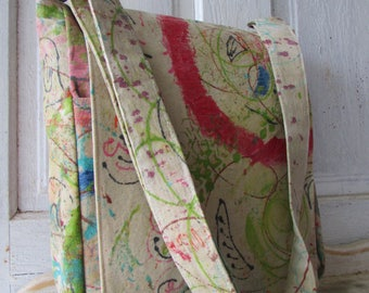 Messenger Bag waxed canvas water resistant hand painted wheelchair painted unique over the shoulder bag cross body bag adjustable strap