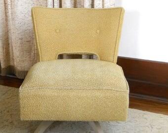 Vintage Kroehler Swivel Slipper Chair  • Mid Century Upholstered Lounge Chair • Yellow Upholstered Chair