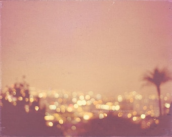 night photography, photo of Los Angeles, Hollywood Summer Nights peach apricot palm tree cityscape gold bokeh lights California travel print
