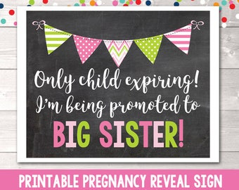 Promoted to Big Sister Printable Pregnancy Reveal Announcement Photo Prop Instant Download Printable PDF Only Child Expiring Sign