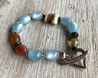 Carnelian Bohochic Lampwork  Blue Rhodium Heart Beaded  Bracelet  for her Under 60, Free US shipping