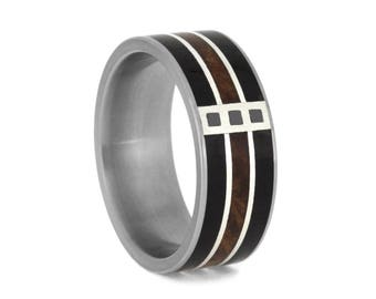 Three Stone Black Diamond Wedding Band, Men's Gemstone Ring With Blackwood And Redwood, Sterling Silver Ring