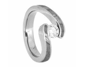 Diamond Meteorite Engagement Ring, Tension Setting With Rare Seymchan Meteorite, Space Ring