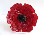 Red Fused Glass Poppy Dish