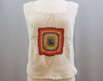 Vintage 90s Sweater Vest Crochet Knit Rainbow Granny Chic Square M L