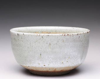 handmade pottery bowl, serving bowl, ceramic bowl with light gray celadon and shino glazes