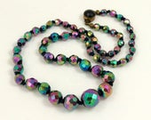 Vintage Carnival Glass Bead Necklace, Peacock Glass Knotted Necklace