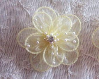 2 pc Yellow Organza flower applique w pearl bead crystal rhinestone for Hat Bridal Corsage Pin barrette headband hair accessory