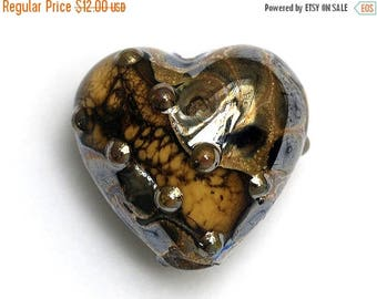 ON SALE 35% OFF Black w/Yellow Silver Foil Heart - 11815205 Handmade Glass Lampwork Bead