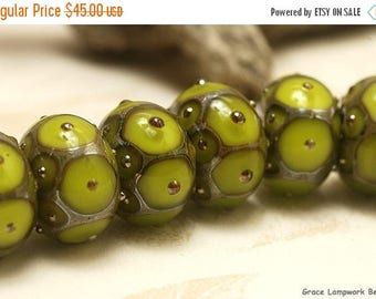 ON SALE 35% OFF Seven Pear Green w/Metal Dots Rondelle Beads Raised dots design  - Handmade Glass Lampwork Bead Sets -  10505001